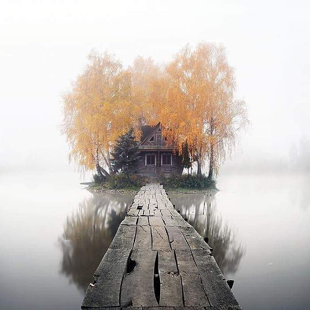 "Ukraine, Zhytomyr region., Staryi Solotvin village.  This island was created artificially in 1970 and was named ""Island of Love"". The house built in the period from 1984 to 1985. Became known as the ""fisherman's and hunter's hut "" and was used as a place where thropies were exposed   Picture by @aleksandr_nesterovskyi   Discover the most hidden places on our travel map! - http://mapiac.com/travel-map/"