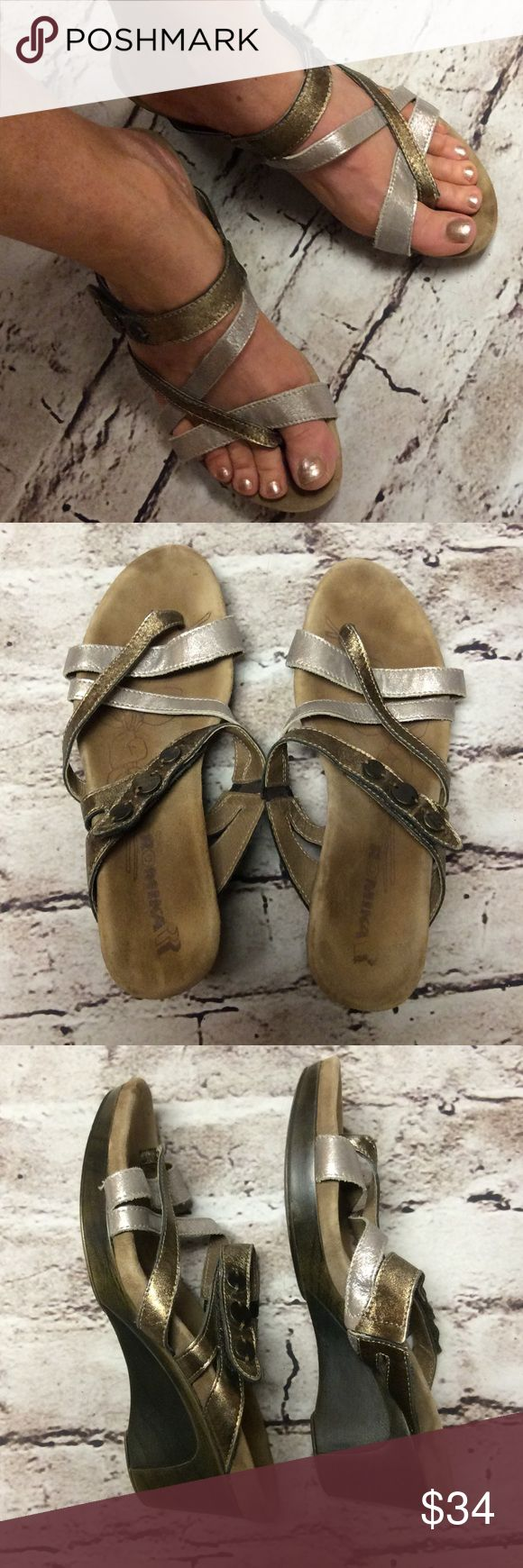 "ROMIKA STRAPPY WEDGE SANDALS/SHOES These are so comfortable it feels like you're walking on air. The footbed shows footprints due to the soft suede leather footbed. Heel 2.5"". Gently used. 2-Tone gold and bronze with toe loop Romika Shoes Wedges"