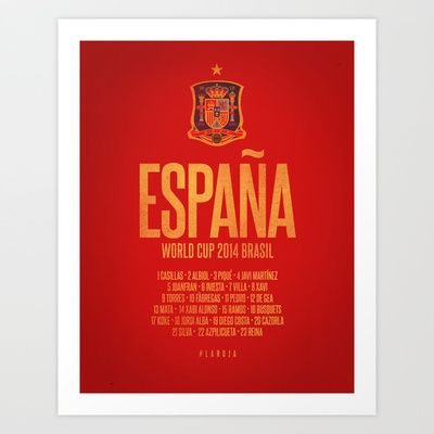 España World Cup 2014 Celebrative Artwork Art Print by The Soccer Supply
