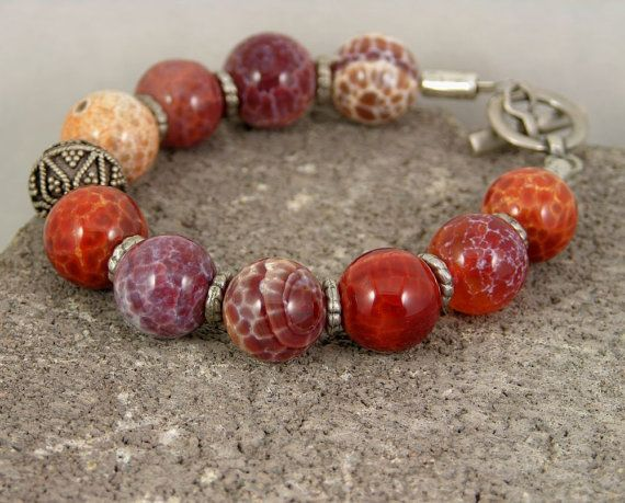 #etsyfollow #jewelry #bracelet #gemstone #sterling silver #fire crackle agate @piabarile $35