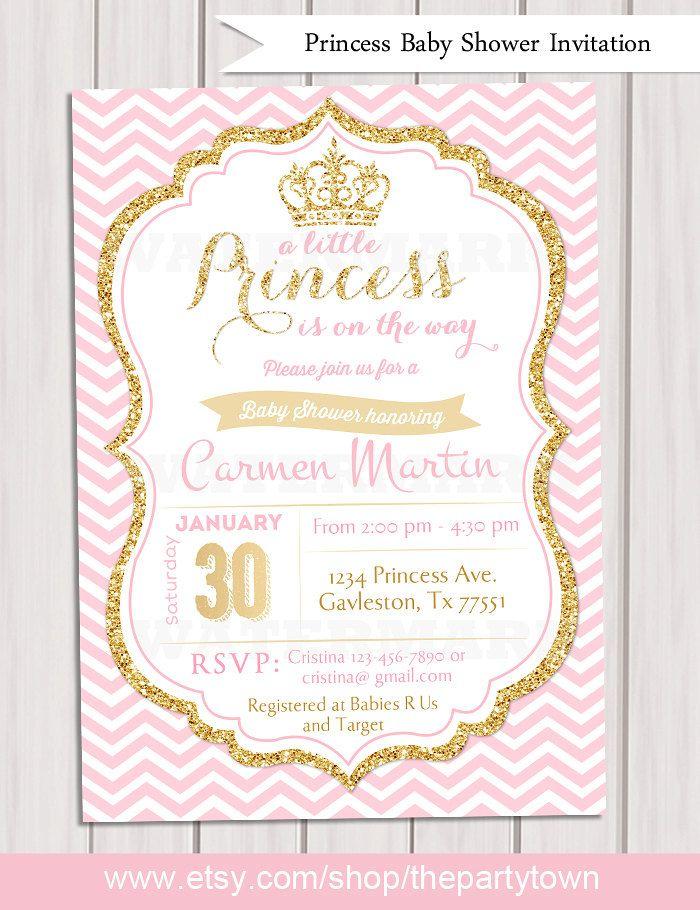 Rosa y oro princesa bebé ducha invitación, invitación de Chevron, Girl Baby Shower, Glitter oro invitación, invitación para imprimir  Este listado está para un archivo digital para la impresión de DIY. Ningún producto físico será enviado.  Este listado está para una invitación imprimible digital de 5 x 7 para imprimir ya sea en casa o en tu local impresora.  ----------------------- ♥••♥MATCHING ITEMS ♥••♥ --------------------------  Tarjeta de agradecimiento…