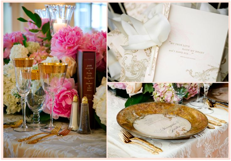 From the invitations to the custom chargers, the love of literature inspired these fabulous wedding details! somethingfab.com event design