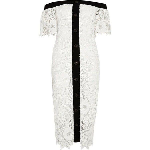 River Island White bardot lace midi dress ($150) ❤ liked on Polyvore featuring dresses, short-sleeve lace dresses, white embroidered dress, tall dresses, white short sleeve dress and white midi dress