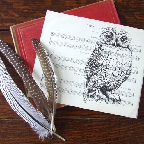 Evening Song Snowy Owl Print on Vintage Sheet Music: Vintage Sheet, Snowy Owl