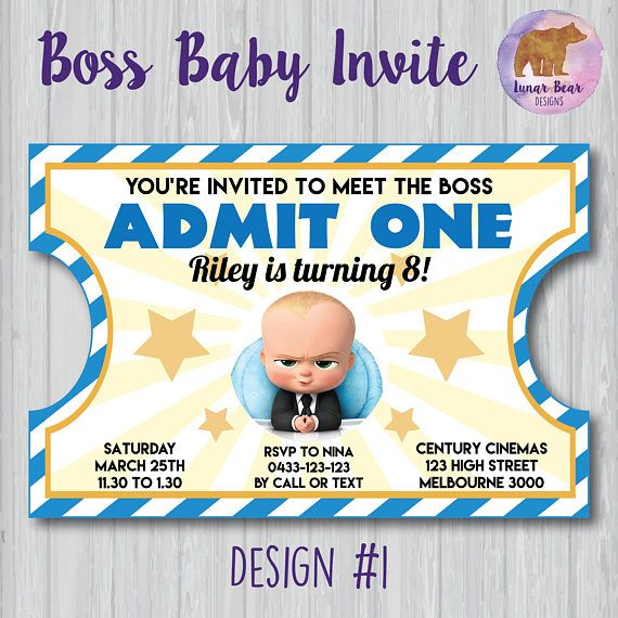 The Boss Baby ticket-style invitation  * choose from 4 picture options set against a vintage ticket style design * can also be used as a second-baby baby shower invitation!  * available in two sizes: 4x6 or 5x7 (custom sizes may be available upon request) * all text in the sample pictures can be changed if you prefer different wording  Please note that this listing is for a DIGITAL FILE that has been personalised with your invitation details. The file itself is NOT editable. You will be able ...