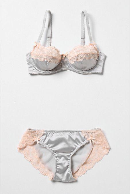 pretty peach blue gray lace lingerie set