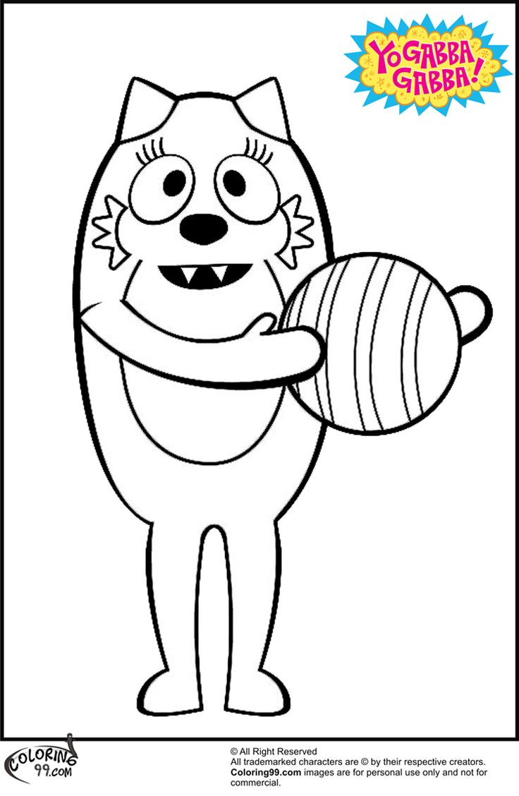 Coloring pages yo gabba gabba - Toodee With Ball Coloring Page From Yo Gabba Gabba
