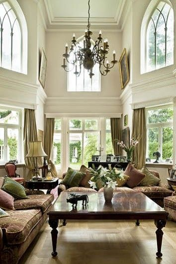 A Beautiful Living Room. This Is My Personal Style With Overstuffed Sofas,  Lots Of Windows, High Ceilings And A Gorgeous Chandelier.