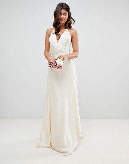 asos edition robe de mariee style sirene en satin avec