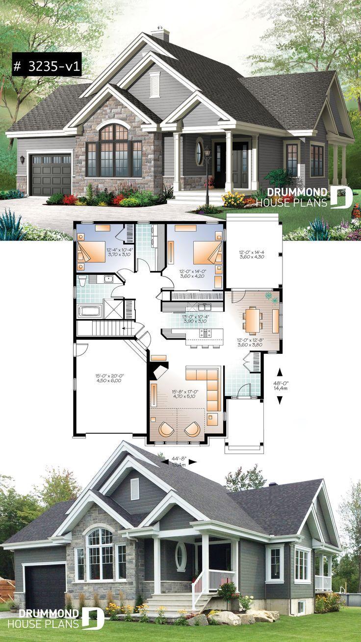 Ranch Bungalow Hausplan, mit Pantryküche, offenem Grundrisskonzept, Garage