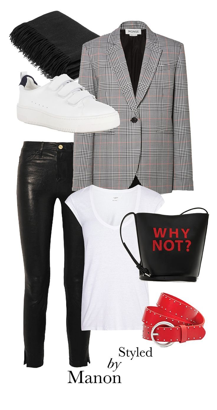 Checkered blazer, white sneaker - Outfit Styled by Manon #whattowear