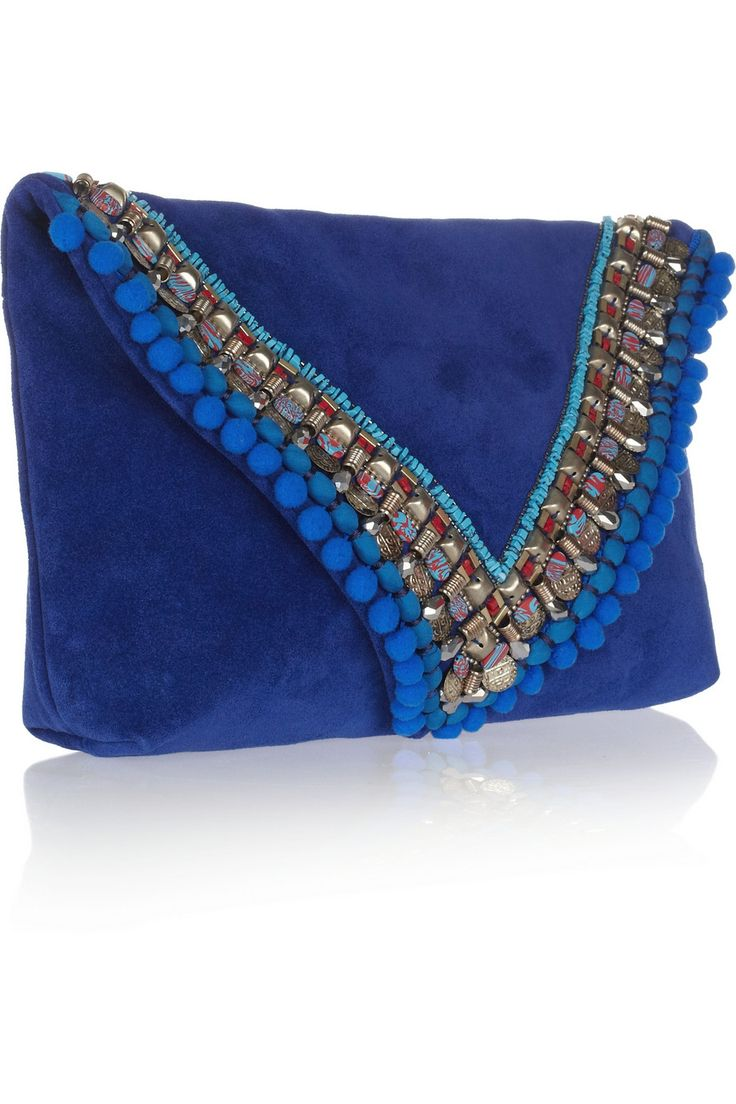Matthew Williamson | Embellished suede clutch | NET-A-PORTER.COM