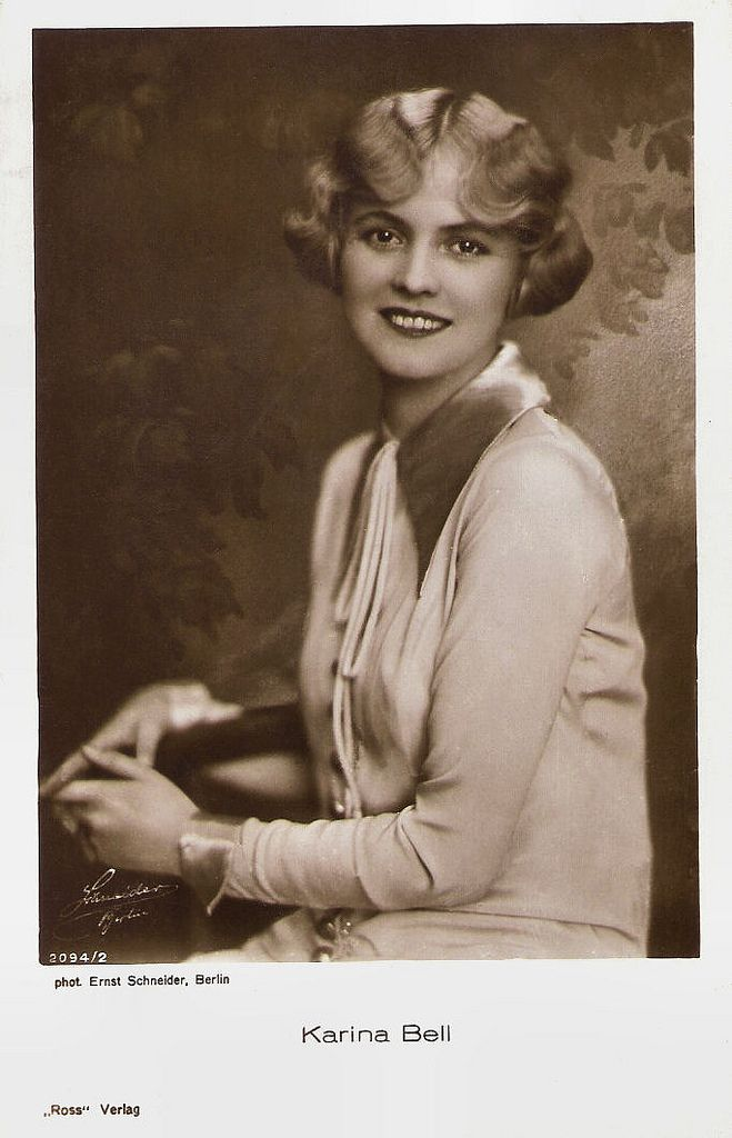 https://flic.kr/p/9C67Ry | Karina Bell | German postcard by Ross Verlag, nr. 3094/2. Photo: Ernst Schneider, Berlin.   Charming Danish actress Karina Bell (1898-1979) was the most popular female star of the Nordisk Film Kompagni in the 1920's. The blond and slim actress was the beauty ideal of her generation. She also appeared in silent German and Swedish films. In later life she became the CEO of a Danish brewery.  See also filmstarpostcards.blogspot.com/search/label/Karina%20Bell