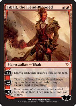 Magic: the Gathering - Tibalt, the Fiend-Blooded (161) - Avacyn Restored by Wizards of the Coast. $3.34. From the Avacyn Restored set.. A single individual card from the Magic: the Gathering (MTG) trading and collectible card game (TCG/CCG).. This is of Mythic Rare rarity.. Magic: the Gathering is a collectible card game created by Richard Garfield. In Magic, you play the role of a planeswalker who fights other planeswalkers for glory, knowledge, and conquest. Your deck of car...