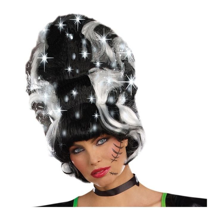 The monster bride light-up bride of Frankenstein wig features a hidden pocket for the on/off switch. This dazzling bride of Frankenstein wig includes a tall black wig with white streaked accents and LED lights. | eBay!