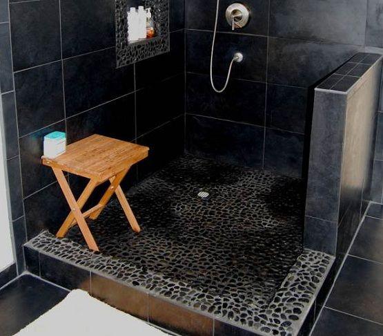 black pebble shower floor | Flooring Ideas | Floor Design Trends