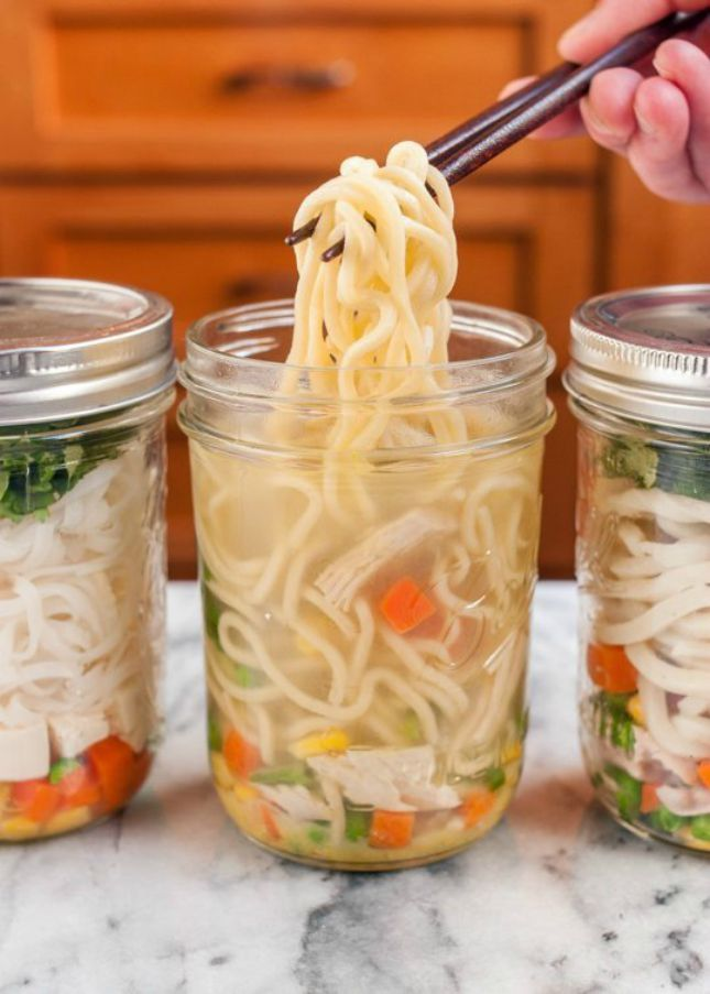 DIY Instant Noodle Cup: Skip the ramen and make your own healthier version of an instant noodle cup. Place all your ingredients in a jar, add hot water when you're ready for lunch, let it sit for a few minutes and enjoy. (via The Kitchn)