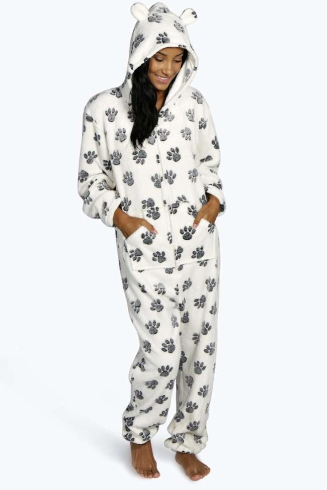 Fleece Puppy Paw Print Onesie | Products, Puppys and Women's