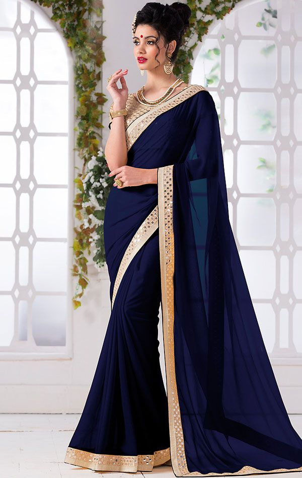 Show details for Fascinating Navy Blue Elegant Saree with Blouse