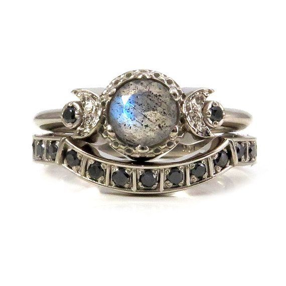 Modern Gothic Engagement Ring Set by SwankMetalsmithing on Etsy                                                                                                                                                                                 More