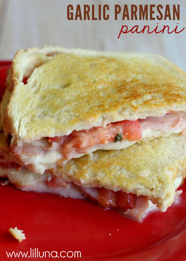 Garlic Parmesan Panini Recipe ~ Says: It was very simple to put together and tasted like a million bucks!
