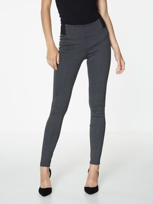 SLIM FIT BIKER LEGGINGS, Dark Grey Melange
