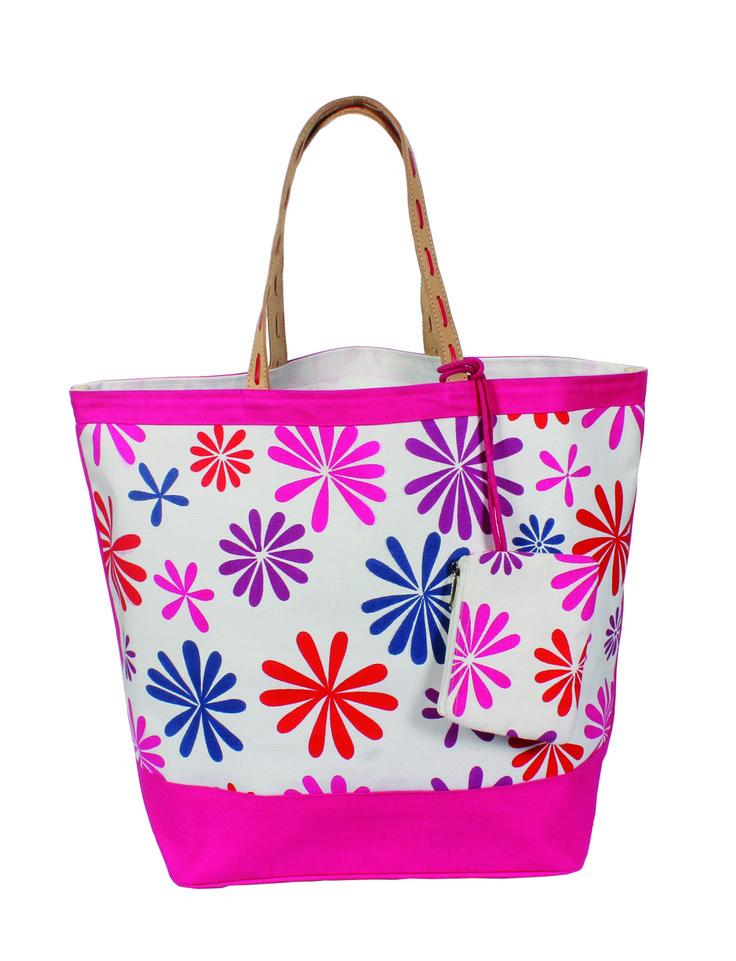 YOLO Women's Daisy Delight Oversized Tote bag Fuchsia Large