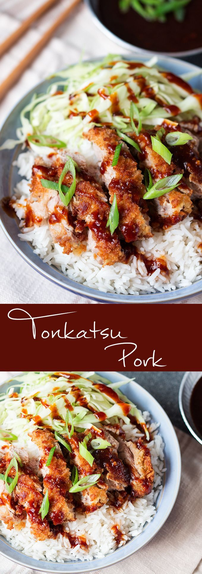 Tonkatsu Pork - crispy coated sliced pork with a delicious sweet and tangy sauce.