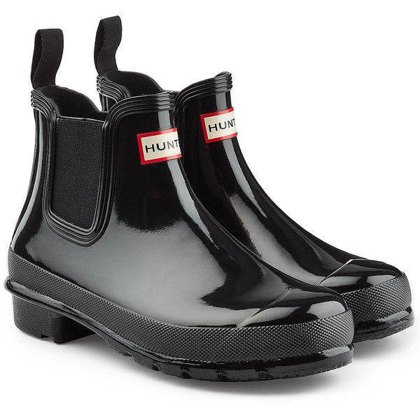Hunter Chelsea Wellington Boots (€110) ❤ liked on Polyvore featuring shoes, boots, black, rain boots, black rubber boots, black slip on boots, slip on boots and black pull on boots