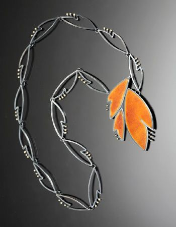 """Marcia Meyes, """"Amber Flower 2""""  Necklace with pendant that can be worn as a brooch in sterling silver, 14k and 18k gold, and sugar fired enamel. Pin/pendant measures 2.25 x 1.5"""""""
