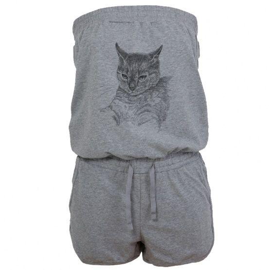 Hot Jumpsuit. Ink drawing - cat Kombinezon szary, bawełna, grafika kot.