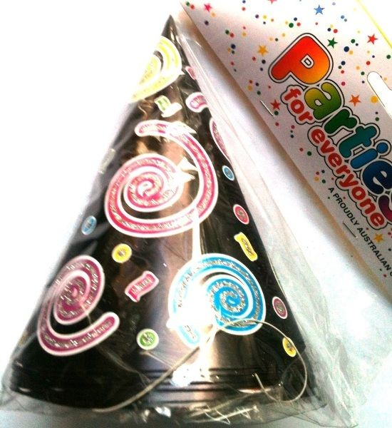 Black Party Hats With Glitter Swirls 6 Pack Birthday Celebration Party Supplies