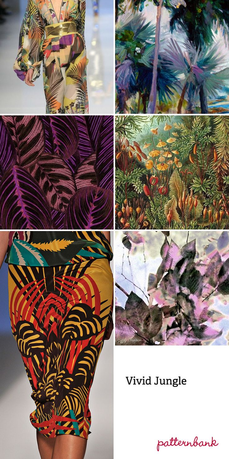 """Spring/Summer 2013-""""Vivid Jungle""""-Tropical vegetation focus ~ Photo-real jungle scenes ~ Micro and large-scale tropical flower studies ~ Watercolour textural effects ~ Symmetrical prints ~ Fern leaf overlap pattern forms ~ Engineered tropical placements ~ Distorted jungle prints"""