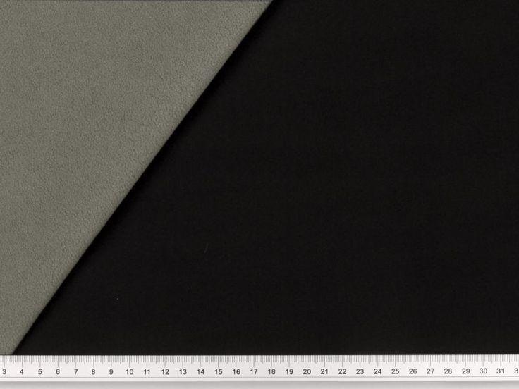 Tessuto double-face (un lato tela stretch, un lato pile) di ottima qualità, idrorepellente e traspirante, altezza ca. 145cm, ideale per abbigliamento. Tela: 91% poliestere, 9% elastan. Pile: 100% poliestere