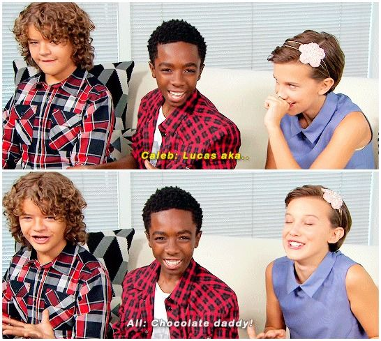 I: People are making memes out of you guys constantly. Have you seen one of yourself you really like?  C: I have a meme of myself….I call myself chocolate daddy.  #millie brown #caleb mclaughlin #gaten matarazzo