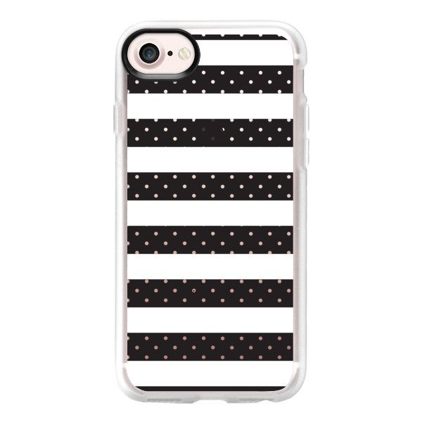 Modern black white girly hipster polka dots stripes - iPhone 7 Case... (€34) ❤ liked on Polyvore featuring accessories, tech accessories, phone cases, iphone case, dots iphone case, apple iphone case, iphone cover case, iphone cases and polka dot iphone case