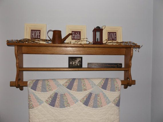 Custom Made Wall Hung Quilt Rack by RDWoodCrafts on Etsy