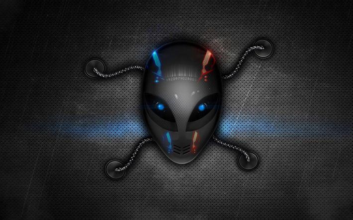 Download wallpapers Alienware, 4k, 3d logo, metal background