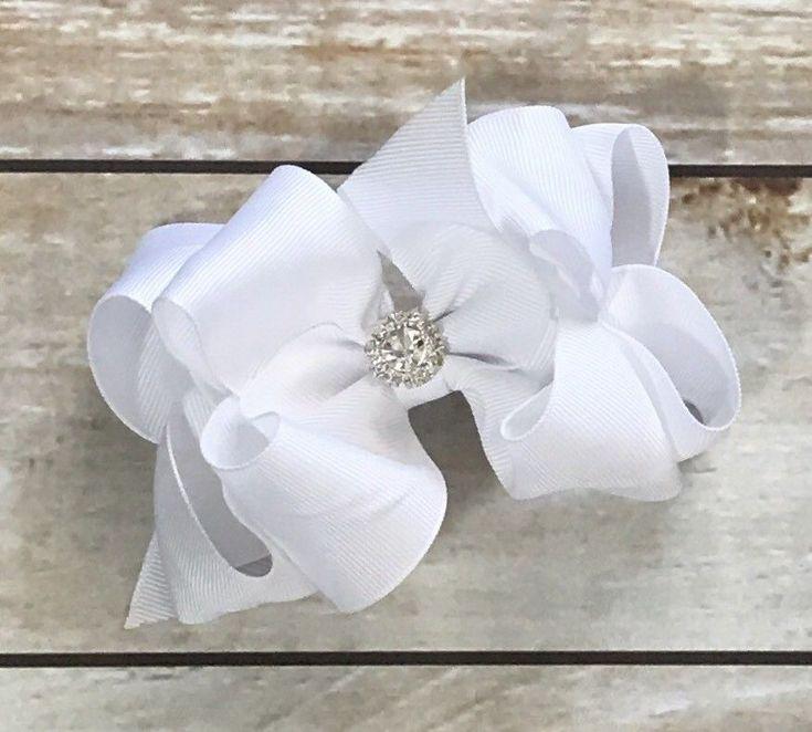 "White Hairbow Boutique Bow Easter Dressy Flower Girl Large Bow 5"" Rhinestone Bow    eBay"