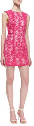 $253, Kelli Talulah Divine Light Scrolling Lace Dress Hot Pink. Sold by Neiman Marcus. Click for more info: https://lookastic.com/women/shop_items/52524/redirect