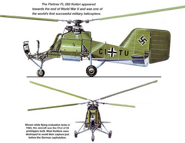 "Profile of the Flettner Fl 282 Kolibri (""Hummingbird"") helicopter."