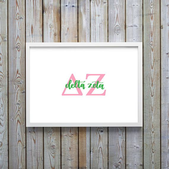 Delta Zeta Print- DZ Print - Calligraphy - Big Little Gift - Sorority - Delta Zeta - Instant Download - Digital File - University - Delta Zeta Canvas - Delta Zeta Decal - Sorority Canvas - Sorority Letters