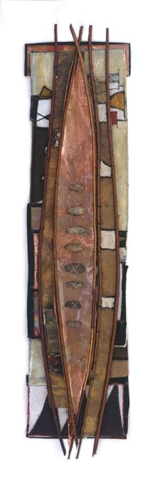 """Download Algonquin   18"""" X 50""""; textiles (embellished, embroidered, woven and painted), copper, stones, willow branch  http://alicevandervennen.ca/prod/detail.asp?iType=53&iPic=739"""