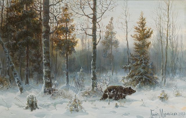 "Muraviov Vladimir Leodinovich (Russian,1861-1940), ""Winter Landscape with bear"" by sofi01, via Flickr"