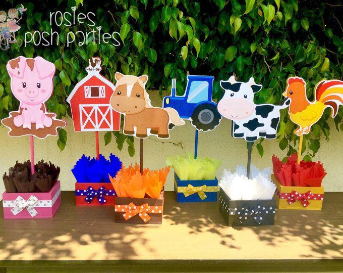 Tema cumpleaños guest madera mesa centro de mesa decoración del partido de ducha de bebé de animales de Granja Granja Granja animales cumpleaños granja cumpleaños SET de 6 de la granja