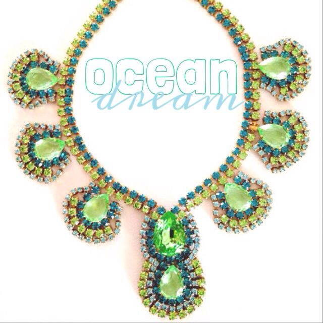 Ocean Dream One of a kind, Vintage Czech Crystal necklace in dreamy greens and blues - like tropical waters www.maddlola.etsy.com