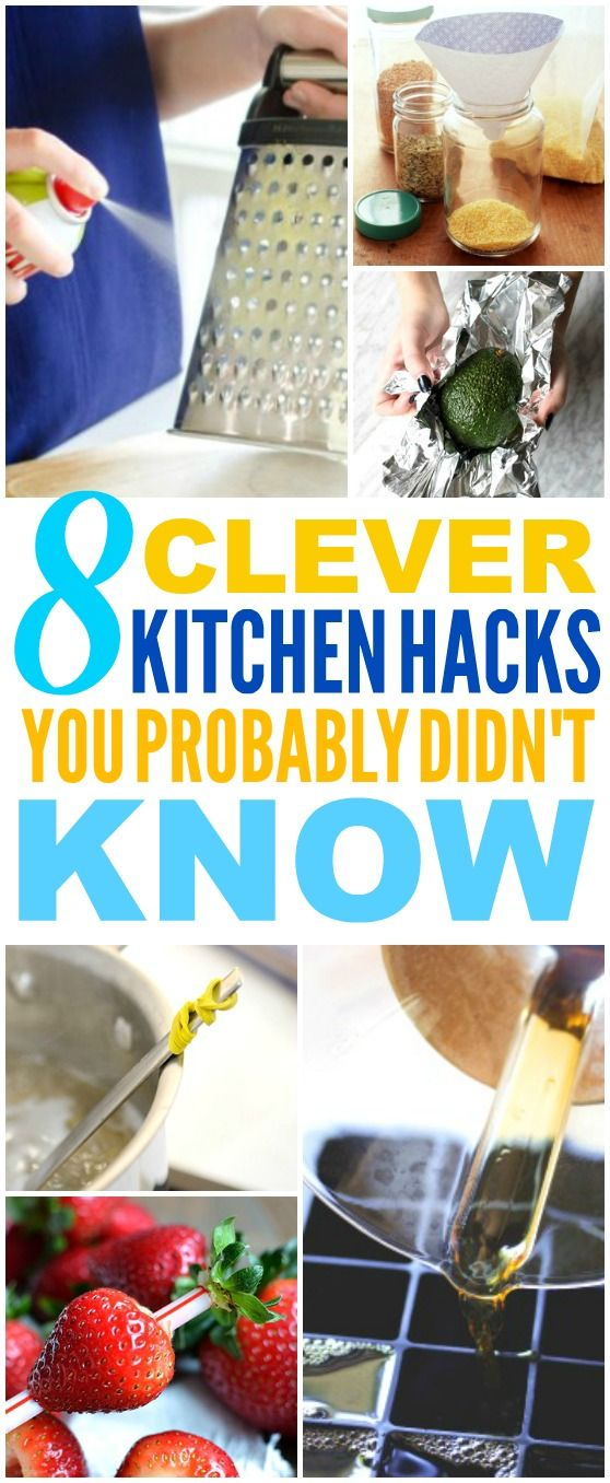 These 8 Super Easy Kitchen Hacks are THE BEST! I'm so happy I found these AMAZING tips! Now I have some great ways to save time in the kitchen! Definitely pinning!