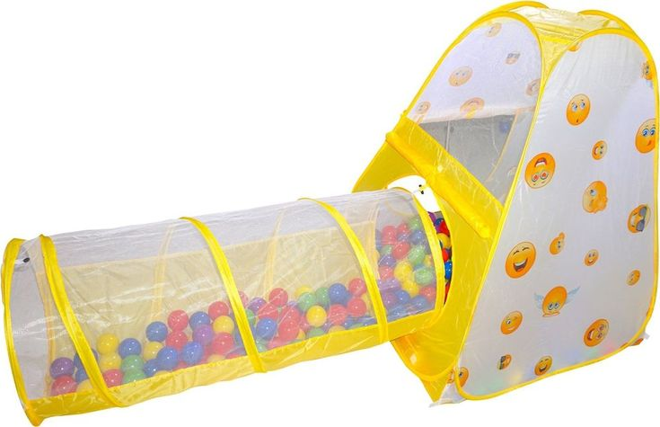 3 pcs. Emoji Toys Kids Pop Up Play Tent Crawl Tunnel and Ball Pit With Basketba #Playz