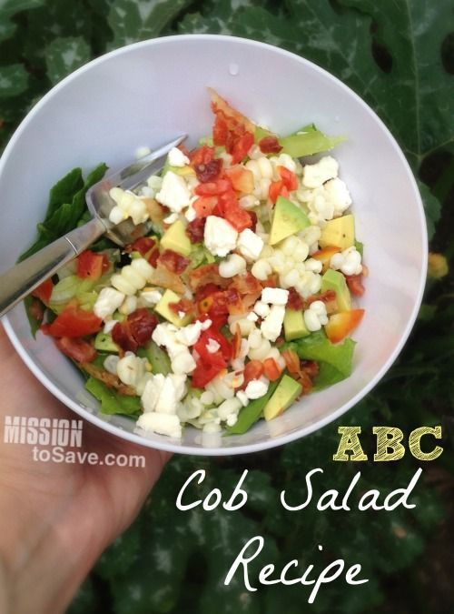 ABC Cob Salad Recipe. This fresh, light salad is perfect for summer or anytime. Combines avocado, bacon and corn with feta and a sweet vinegar dressing.