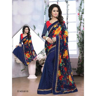 Buy Sareeline Blue Faux Georgette Saree by Mor Mukut Fashion, on Paytm, Price: Rs.2001